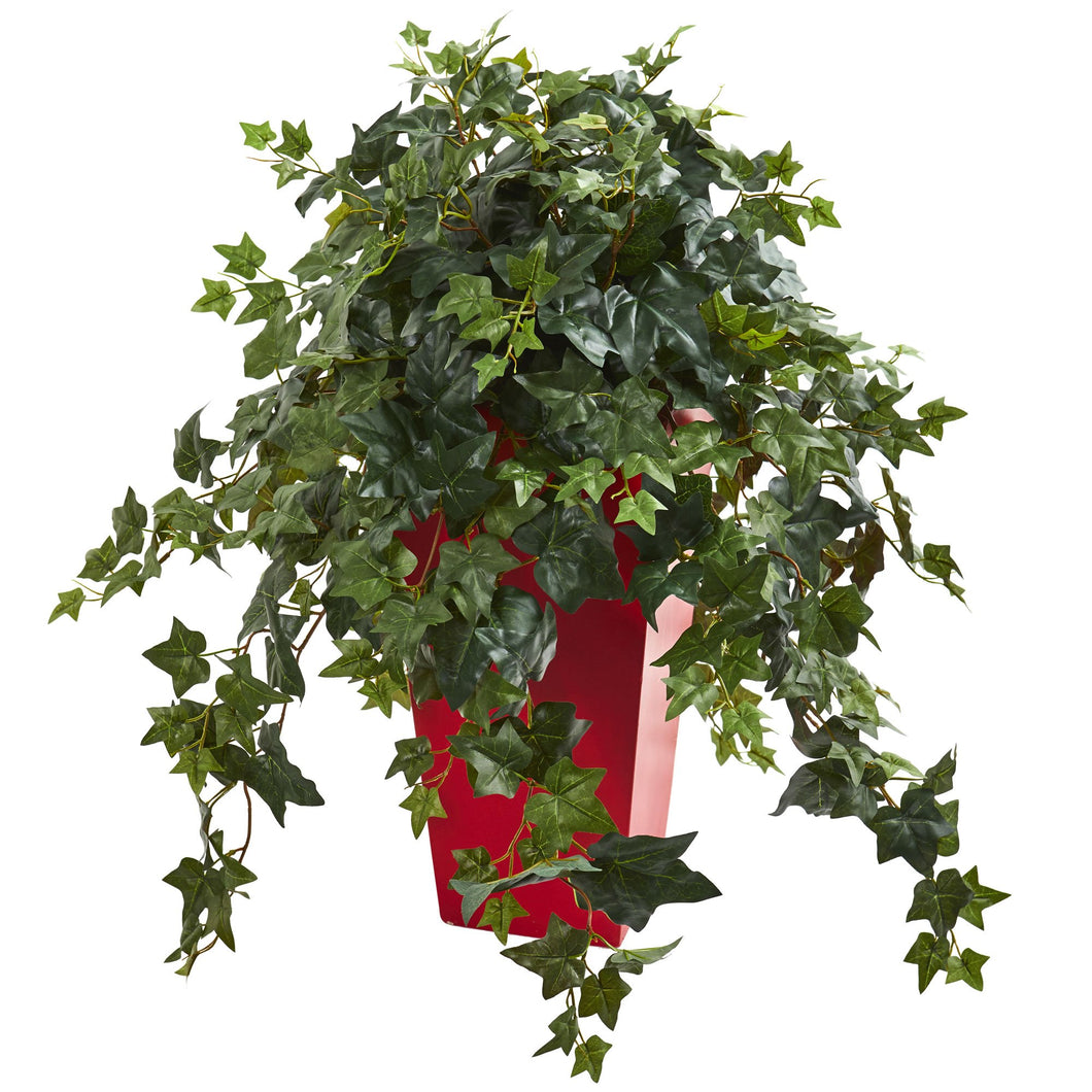 Ivy Artificial Plant in Red Planter