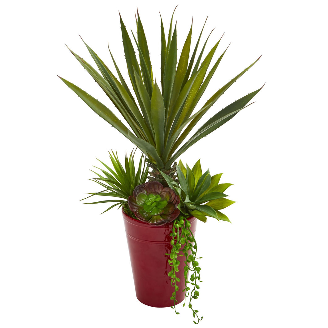 Spiky Agave & Succulent Artificial Plant in Red Planter