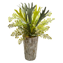 "Load image into Gallery viewer, 19"" Staghorn and Maiden Hair Fern Artificial Plant in Weathered Vase"