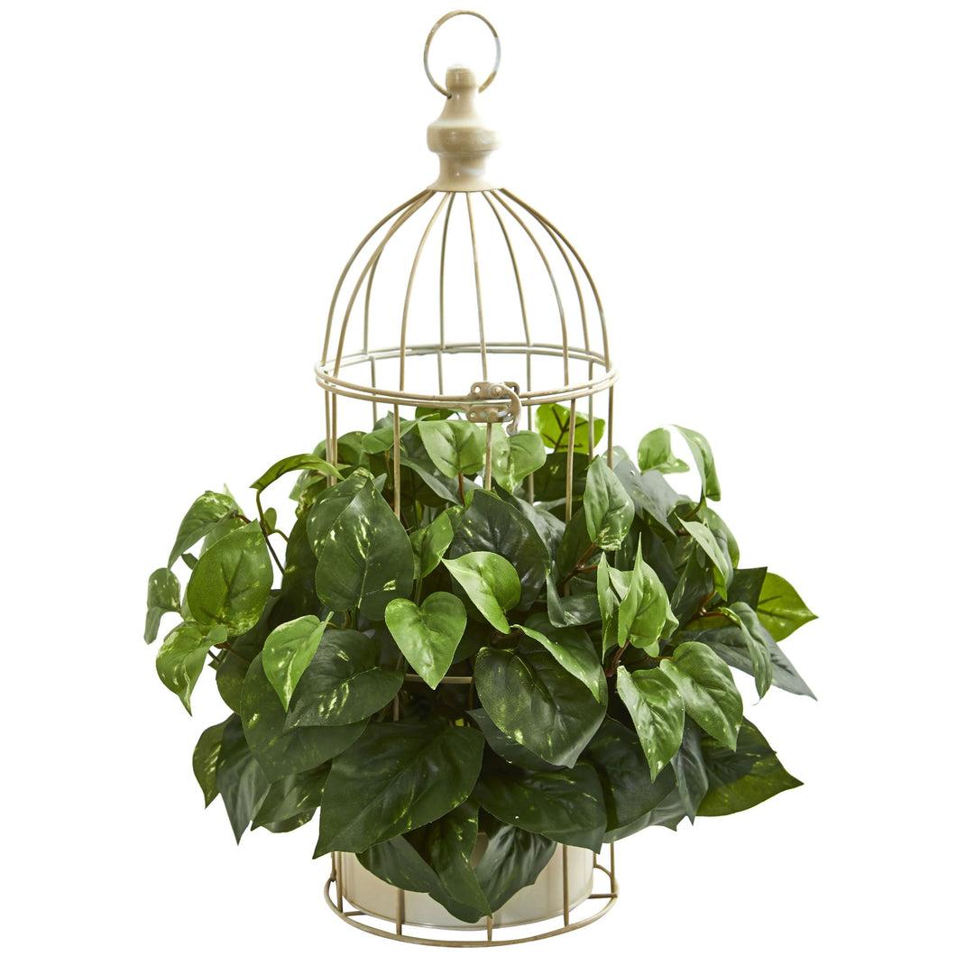 Pothos Artificial Plant in Decorative Bird Cage