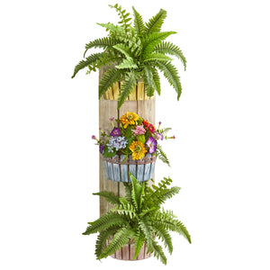 "39"" Mixed Floral & Fern Artificial Plant in Three-Tiered Wall Decor Planter"