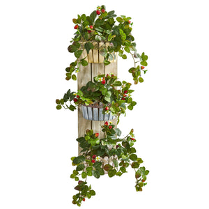 "39"" Strawberry Artificial Plant in Three-Tiered Wall Decor Planter"
