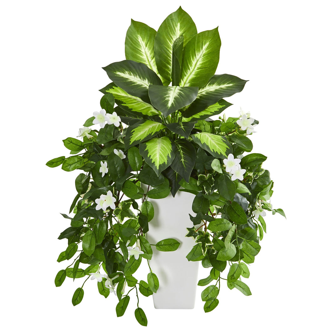 Stephanotis and Dieffenbachia Artificial Plant in White Vase