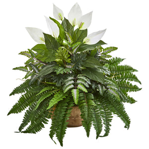 "29"" Spathifyllum and Fern Artificial Plant in Planter"