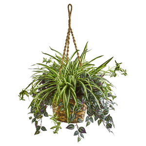 "30"" Wandering Jew & Spider Artificial Plant in Hanging Basket"