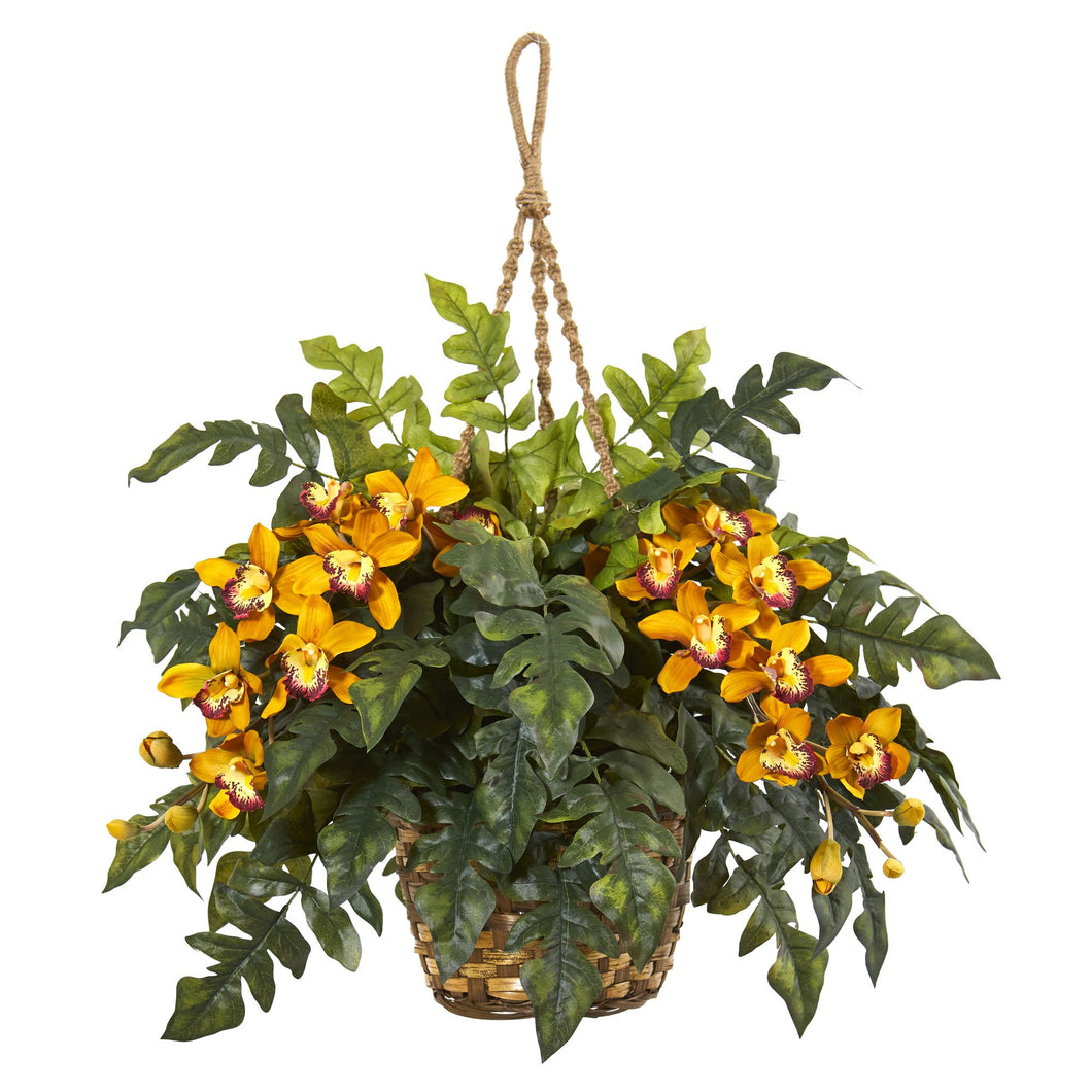 Cymbidium Orchid & Fern Artificial Arrangement in Hanging Basket - Yellow