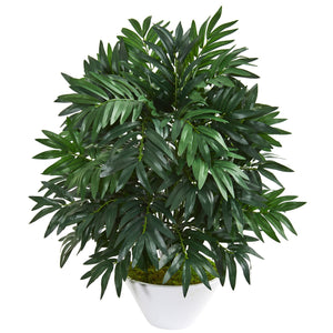 "30"" Bamboo Palm Artificial Plant in White Planter"