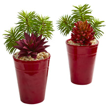 Load image into Gallery viewer, Mixed Succulents Artificial Plant in Burgundy Vase (Set of 2)