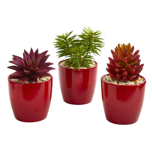 "8"" Mixed Succulent Artificial Plant in Red Vase (Set of 3)"