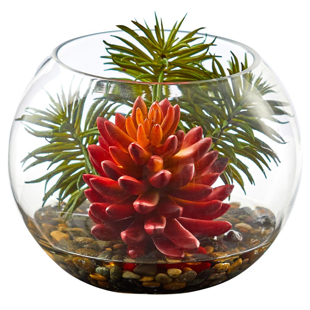 Succulent Artificial Plant in Round Vase