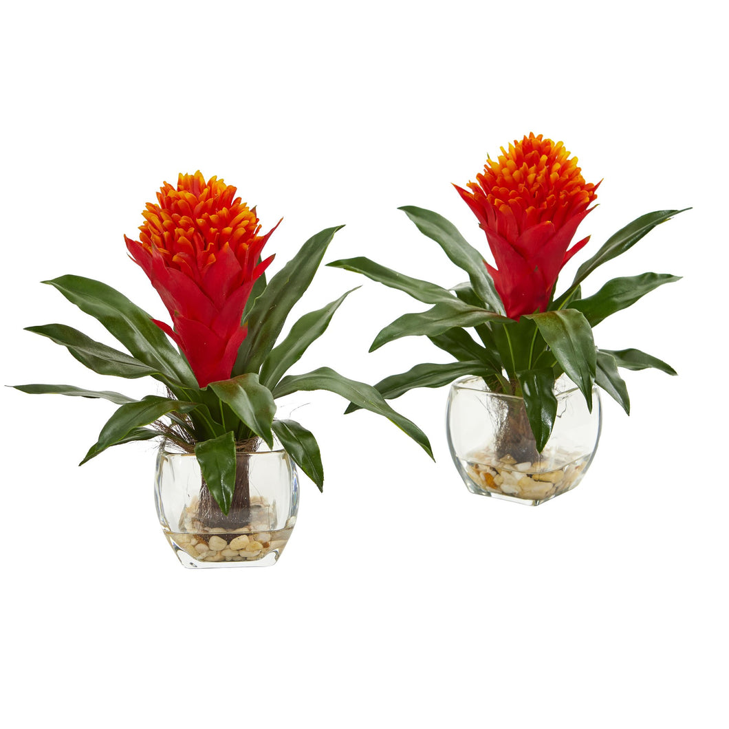 Bromeliad Artificial Plant in Vase (Set of 2)