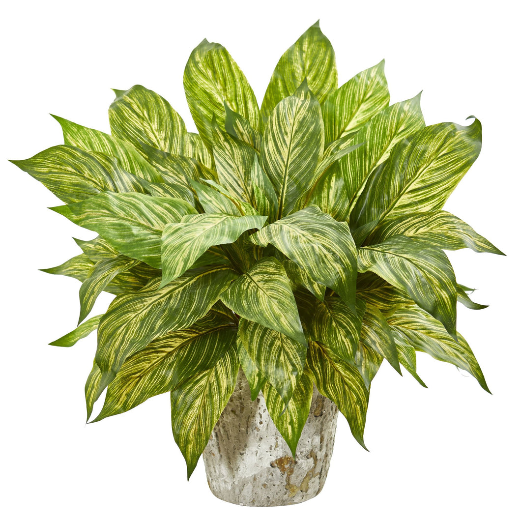 Musa Leaf Artificial Plant in Weathered Oak Planter - Yellow Green