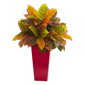 "27"" Croton Artificial Plant in White Tower Planter (Real Touch) - Red"