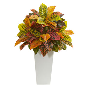 "27"" Croton Artificial Plant in White Tower Planter (Real Touch) - White"