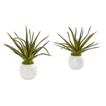 "Load image into Gallery viewer, 10"" Mini Aloe Succulent Artificial Plant in White Vase (Set of 2)"