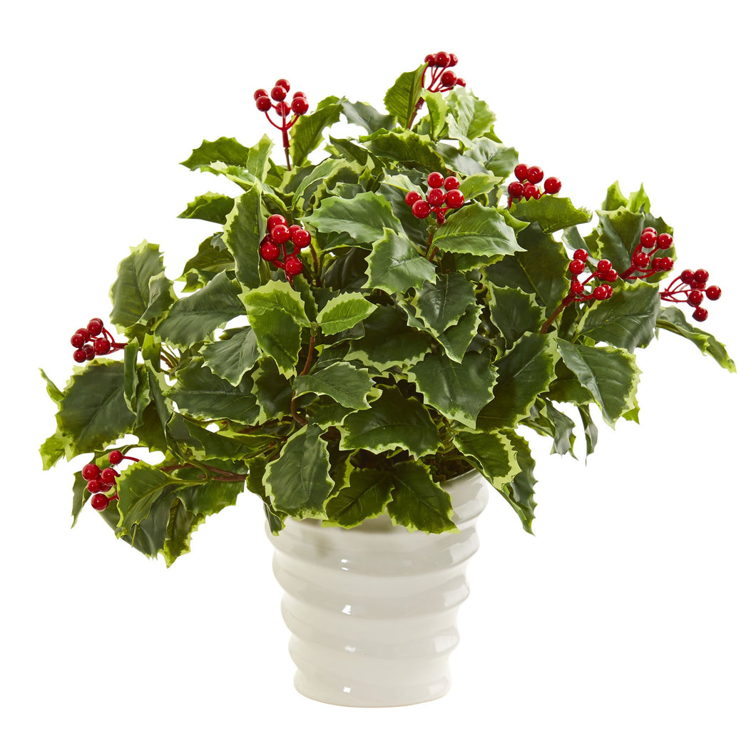 Variegated Holly Artificial Plant in White Vase (Real Touch)