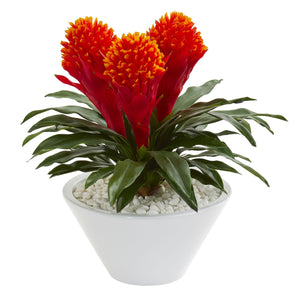 "17"" Bromeliad Artificial Plant in White Vase"
