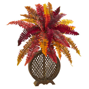 "30"" Autumn Boston Fern Artificial Plant in Weave Planter"