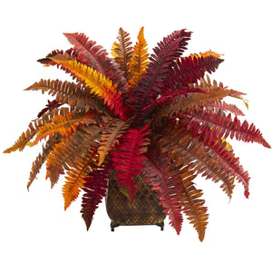 Autumn Boston Fern Artificial Plant in Metal Planter