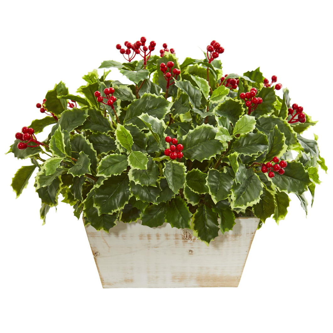 Variegated Holly Leaf Artificial Plant (Real Touch)
