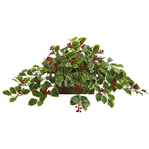 "37"" Variegated Holly Leaf Artificial Plant in Planter (Real Touch)"