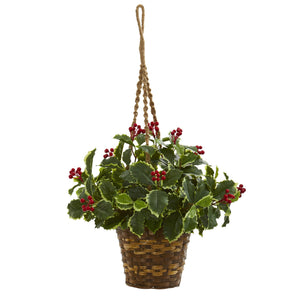 "26"" Variegated Holly Artificial Plant in Hanging Basket (Real Touch)"