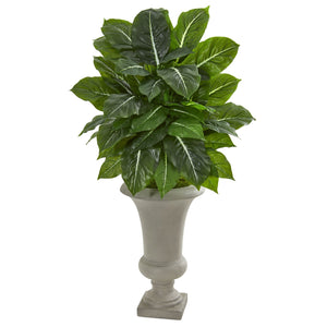 "35"" Evergreen Artificial Plant in Sandstone Urn (Real Touch)"