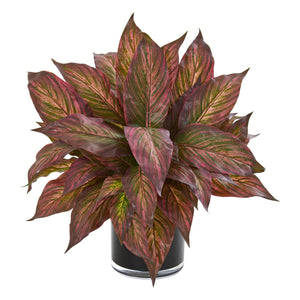 Musa Leaf Artificial Plant in Glossy Black Vase - Burgundy