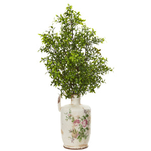 "26"" Boxwood Artificial Plant in Floral Print Vase"