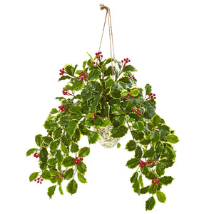 "30"" Variegated Holly Berry Artificial Plant in Hanging Vase (Real Touch)"