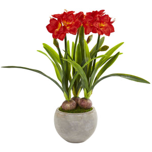 Amaryllis Artificial Plant in Sandstone Bowl
