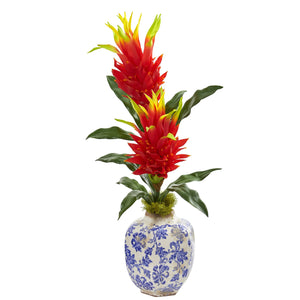 "29"" Dragon Fruit Flower Artificial Plant in Marine Print Vase"