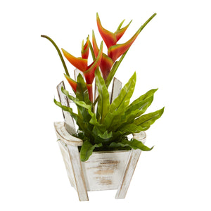 "16"" Heliconia and Birds Nest Fern Artificial Plant in Chair Planter"