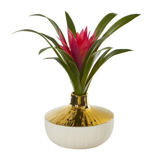 "13"" Ginger Artificial Plant in Gold and Cream Elegant Vase"