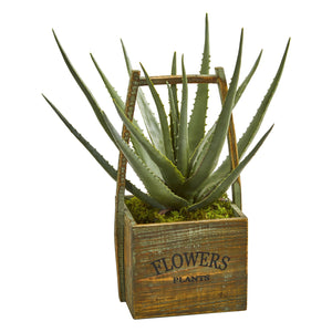 Aloe Artificial Plant in Vintage Decorative Basket