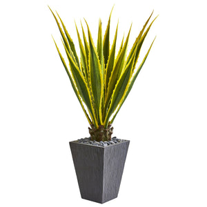 4.5' Agave Artificial Plant in Slate Planter
