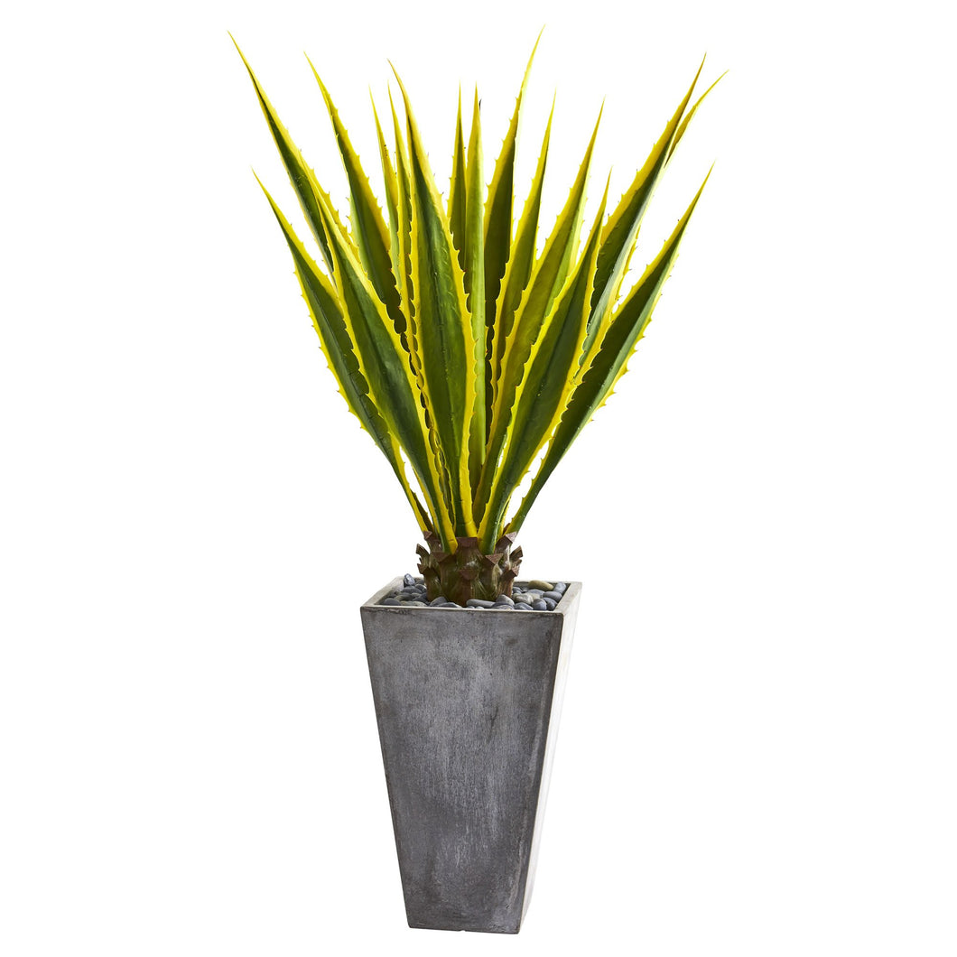 5' Agave Artificial Plant in Gray Planter