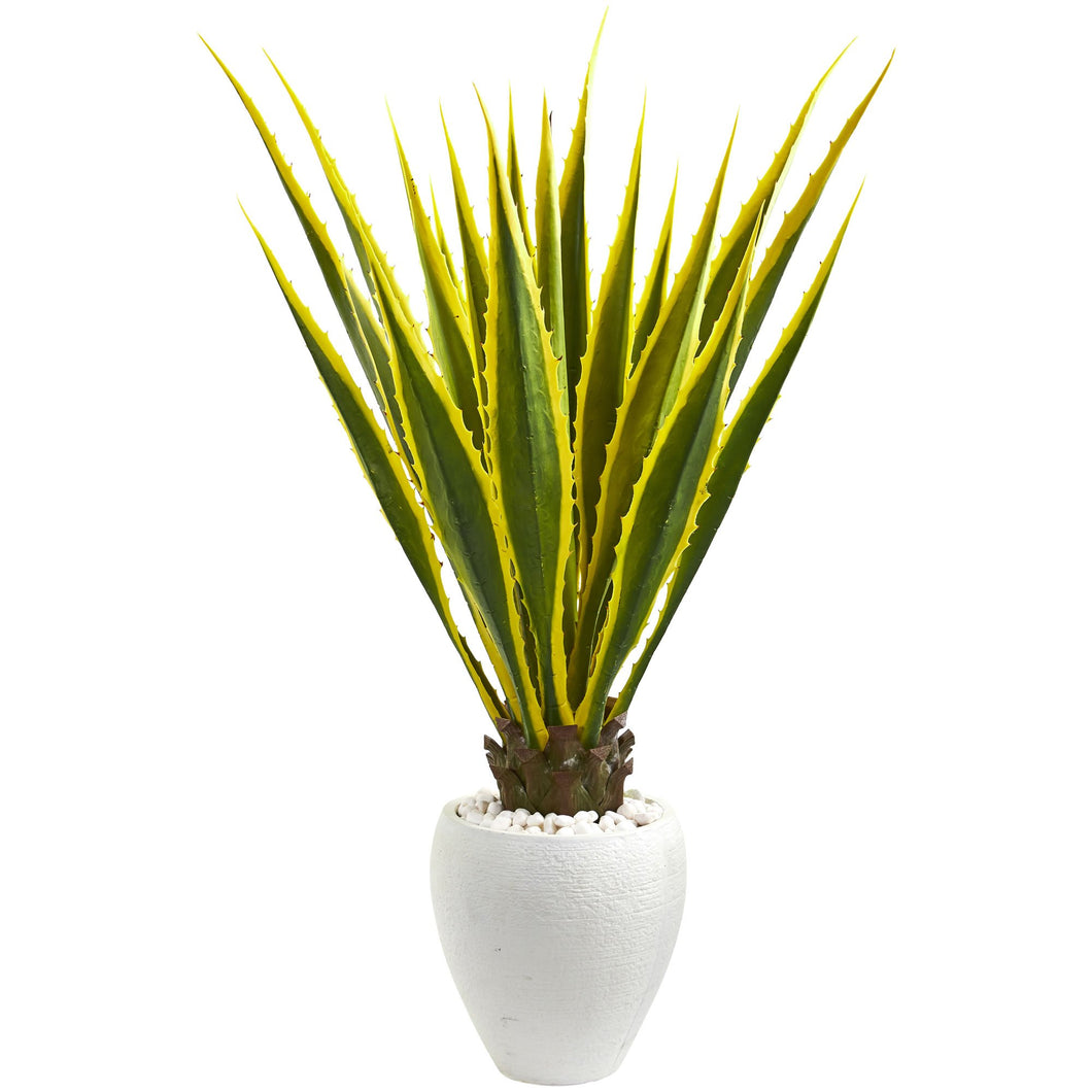 4' Agave Artificial Plant in White Planter