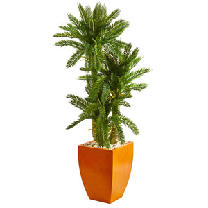 4.5' Triple Cycas Artificial Plant in Orange Planter