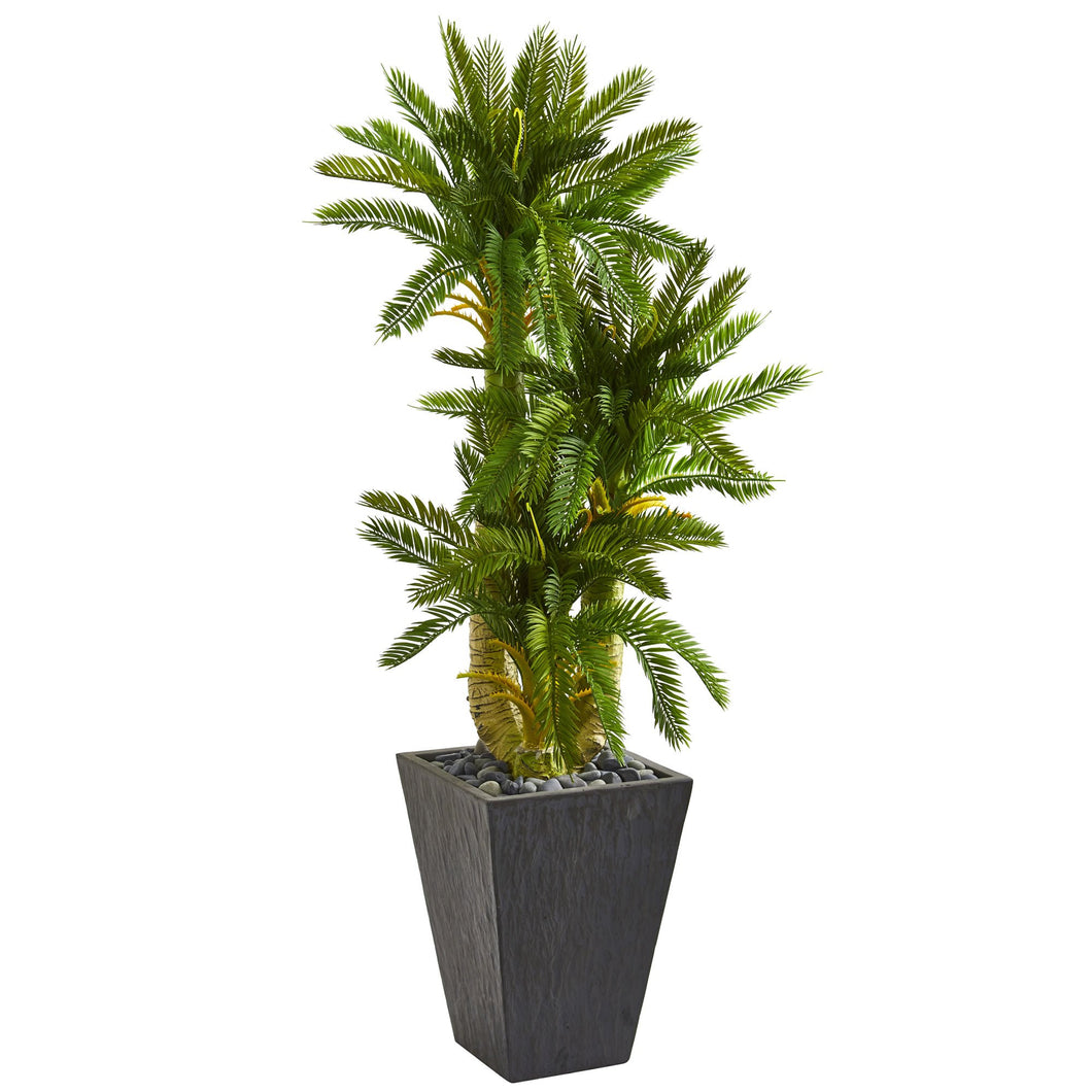 4.5' Triple Cycas Artificial Plant in Slate Planter