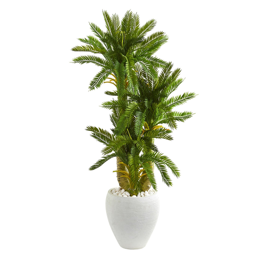 4' Triple Cycas Artificial Plant in White Planter