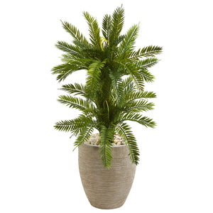 3' Double Cycas Artificial Plant in Sand Colored Planter