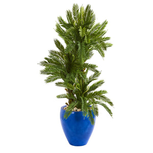 4' Triple Cycas Artificial Plant in Blue Planter