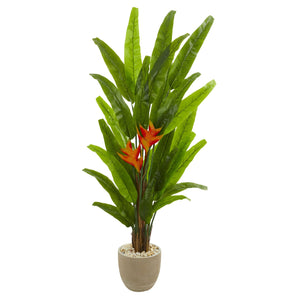 "76"" Heliconia Artificial Plant in Sand Stone Finish Planter"