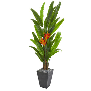 6.5' Heliconia Artificial Plant in Slate Planter