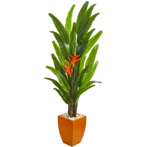 6.5' Heliconia Artificial Plant in Orange Planter