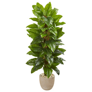 "58"" Large Leaf Philodendron Artificial Plant in Sand Stone Planter (Real Touch)"