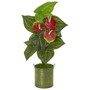 "29"" Anthurium Artificial Plant in Metal Planter (Real Touch)"