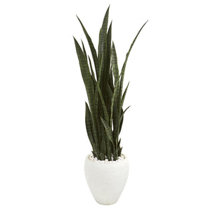 "51"" Sansevieria Artificial Plant in White Planter"