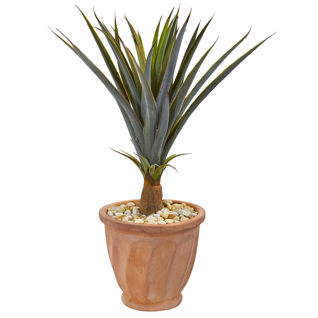 "32"" Agave Succulent Artificial Plant in Terra Cotta Planter"